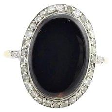 Vintage 18 Karat Yellow and White Gold Onyx and Diamond Ring Size 7.5