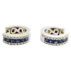 Vintage 14 Karat White Gold Sapphire and Diamond Hoop Earrings