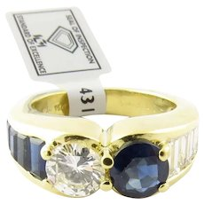 IGI Certified 18K Yellow Gold Diamond Sapphire Ring Band Size 4.5