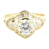 Vintage 18 Karat Yellow Gold Diamond Engagement Ring Size 4.75