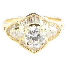 Vintage 18 Karat Yellow Gold Diamond Engagement Ring Size 4.75