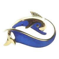 Vintage 18 Karat Yellow Gold and Blue Enamel Dolphin Brooch/Pin