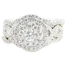 Vintage 14 Karat White Gold Three Ring Diamond Engagement Ring and Wedding Bands Set Size 6.75