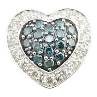 Vintage 14 Karat White Gold White and Blue Diamond Heart Pendant