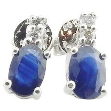 Vintage Platinum Sapphire and Diamond Stud Earrings