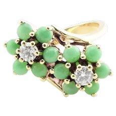 Vintage 14 Karat Yellow Gold Jade and Diamond Ring Size 6.25
