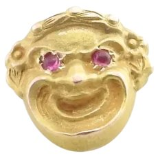 Antique 10 Karat Yellow Gold and Ruby Joker Pin/Brooch