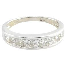 Vintage 18 Karat White Gold Princess Cut Diamond Wedding Band Size 5.25