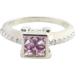Vintage 14 Karat White Gold Simulated Pink Sapphire and Diamond Ring Size 7