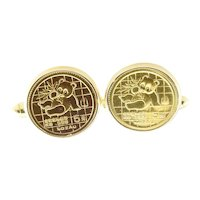 Vintage 18 Karat Yellow Gold Chinese Coin Cufflinks