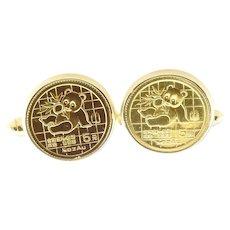 Vintage 18 Karat Yellow Gold Chinese Coin Cufflinks