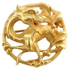 Antique 18K Yellow Gold Griffin Dragon Circular Brooch Pin