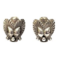 Vintage Georg Jensen Denmark Sterling Silver Bittersweet Screwback Earrings #110