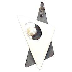 Vintage Modernist Henry Steig Sterling Silver Pearl Triangle Pendant