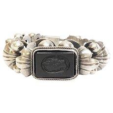 Vintage Mexico Silver Black Cameo Bracelet