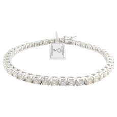 IGI Certified 18K White Gold Diamond Tennis Bracelet 5.98cts