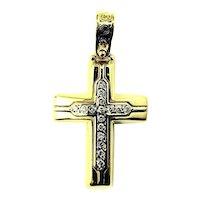 Vintage 18 Karat Yellow Gold and Diamond Cross Pendant