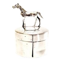 Antique Herbst & Wassall Sterling Silver Figural Horse Postage Stamp Box