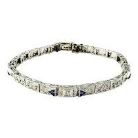 Vintage 14 Karat White Gold Filigree, Diamond and Synthetic Sapphire Bracelet