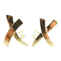 Tiffany & Co. 18K Yellow Gold Paloma Picasso Kiss X Earrings Large w/box