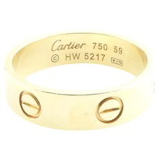 Vintage Cartier 18K Yellow Gold Love Ring Band Size 59 / 8 3/4
