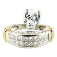 IGI Certified 14K White and Yellow Gold Square Modified Brilliant Diamond Ring
