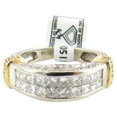 IGI Certified 14K White and Yellow Gold Square Modified Brilliant Diamond Ring