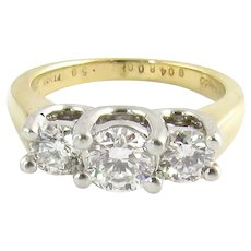 18K Yellow Gold and Platinum Three Round Brilliant Diamond Ring .98cts