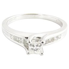 14K White Gold Princess Cut Diamond Engagement Ring .71cts EGL Certification