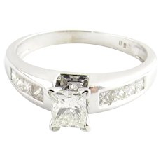 14K White Gold Rectangle Modern Brilliant Cut Diamond Engagement Ring Size 8