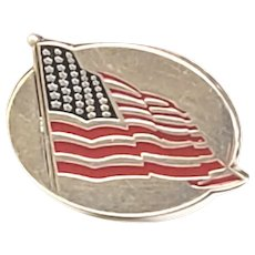 Vintage Tiffany & Co Sterling Silver Enamel American Flag Lapel Pin