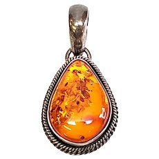 Native American Artie Yellowhorse Sterling Silver and Amber Pendant