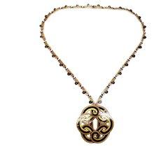 Vintage Margot de Taxco Sterling Silver Enamel Celtic Knot Pin/Pendant Necklace #5752