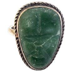 Vintage Sterling Silver Carved Face Tribal Ring Size 5 1/2