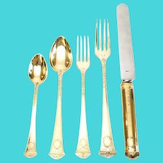 Faberge Imperial Court Gold Vermeil over Sterling Silver 5pc Place Setting