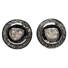 Acme Jewelers Sterling Silver / 14 Karat Gold Rose Cut Diamond Earrings
