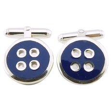 Thistle & Bee Sterling Silver Blue Enamel Button Cufflinks
