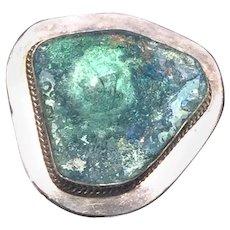 Roman Glass Sterling Silver Brooch/Pendant