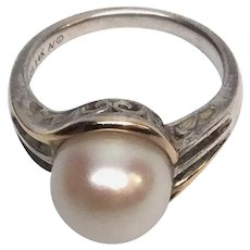 Alwand Vahan Sterling Silver 14K Yellow Gold Pearl and Gemstone Ring 6 3/4