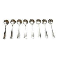 Eight Tiffany & Co. Marquis 1902 Sterling Silver Large Chocolate Spoons