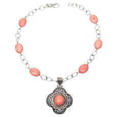 Claudia Agudelo EXEX Sterling Silver and Pink Stone Necklace with Enhancer
