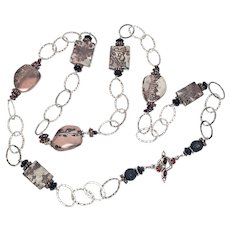 Sterling Silver Hammered Oval Link and Stone Necklace