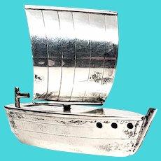 Vintage Japanese Sterling Silver Sail Boat Pepper Shaker