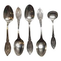 Antique John Polhamus Sterling Silver 4 Coffee Spoons & Master Salt Spoon, 1874