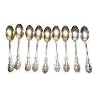 Gorham 1894 Mythologique Sterling Silver Set of 9 Demitasse Spoons