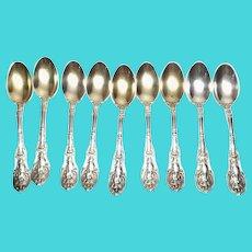 Gorham 1894 Mythologique Sterling Silver Set of 9 Demitasse Spoons