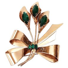 Vintage Coro Craft Gold Vermeil over Sterling Silver Green Stones Calla Lilly Flower Bouquet Pin/Brooch