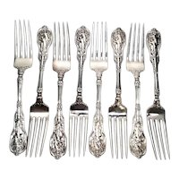 Set of 8 Gorham Mythologique Sterling Silver Forks, Multi Monograms