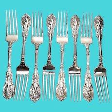 Set of 8 Gorham Mythologique Sterling Silver Forks, Multi Monograms