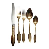 Faberge Grand Europa 5-Piece Sterling Silver Vermeil Place Setting